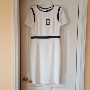 Jaeger UK White Dress with Navy Trim